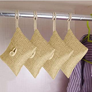 Vkarh 6Pcs bag Car Bamboo Activated Carbon Air Freshener Odor Deodorant, Humidity Adjust Light Weight Elegant Construction Bamboo Charcoal Bag