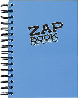 Clairefontaine 8355C - Un carnet à spirale Zap book 160 pages 100 % recyclées unies blanches 14,8x21 cm 80g, couverture co...