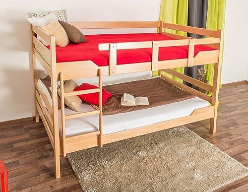 Stückbett für Erwachsene Easy Premium Line  K16 n, Kopf- und Fu il gerade, Buche Vollholz massiv Natur - Liegefl e  140 x 200cm  , teilbar