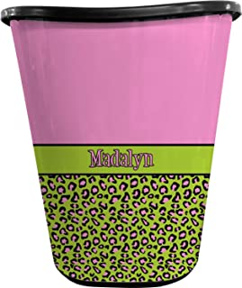 RNK Shops Pink & Lime Green Leopard Waste Basket - Double Sided (Black) (Personalized)