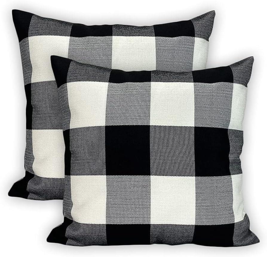 SVITFAMLI Set Max 75% OFF of 2 Buffalo Check Throw Plaid 5 ☆ very popular Pillow Cushi Covers
