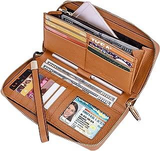 Itslife Women RFID Leather Wristlet Wallets Zip Around Phone Checkbook Card Big Clutch Large Ladies Travel Purse
