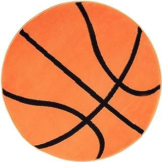 Tapiso Kinder Tapis Rond De Chambre Pour Enfant Bébé Ado Moderne Orange Noir  Basketball Jeu Fin