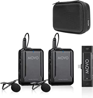 Movo Edge-UC-Duo Wireless Lavalier Microphone System - Omnidirectional Lapel Microphones Compatible with Android, Samsung, iPad Pro- Perfect for Gimbals, Interviews, Teachers, and More