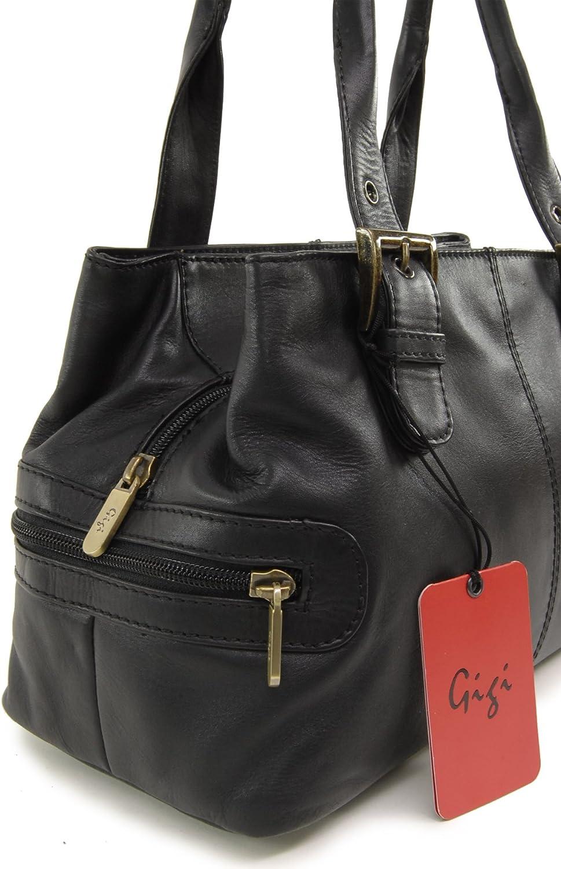 Gigi - Cuir Véritable - Sac Porté Main/Sac à Main/Sac porté épaule - Femme - 6165 Noir