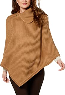 Michael Kors Zippered Ribbed-Knit Poncho Camel (Medium Yellow, One Size)