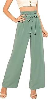 Women's Casual Tie Waist Plain Wide Leg Palazzo Pants