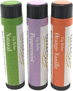 Sister Bees 100% Natural Beeswax Lip Balm - Classic Lip Balm Set, 3 Pack - All Natural, Peppermint, and Orange Vanilla - Moisturizes and Repairs - Chapped, Dry Lip Treatment - Women-Owned and Proudly Made in the USA by Beekeepers