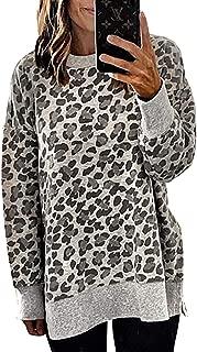 Women's Fashion Color-Block Leopard Print Sweatshirt Crew Neck Long Sleeve Loose Soft Basic Shirt Pullover Tops