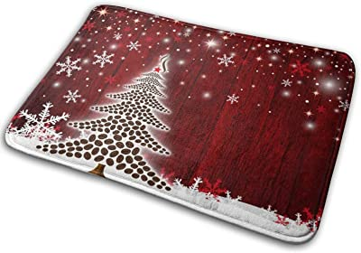 Happy Christmas Tree Winter Snowflake Large Doormats, Non Slip Durable Washable Home Decorative Door Mats Rugs for Entrance Bedroom Bathroom Kitchen, 23 X 16 Inches