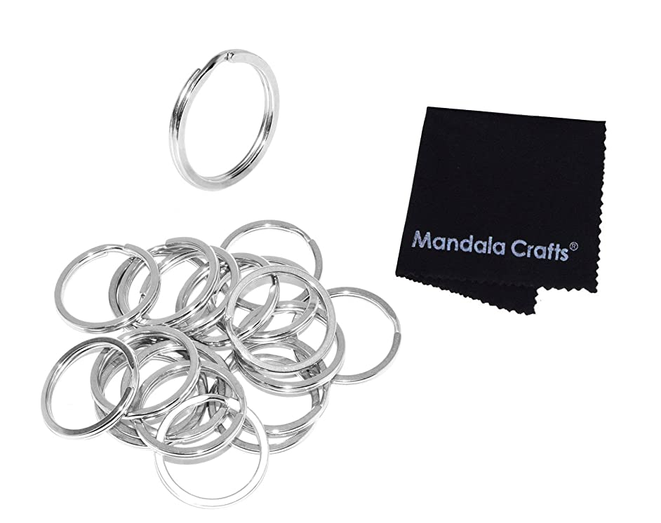Mandala Crafts Heavy Duty Flat Round Stainless Steel Metal Keychain Split Ring Bulk Pack for Keyrings Keys Luggage Pet Tags Lanyards (25mm 1 Inch 20 Piece Count, Silver Tone)