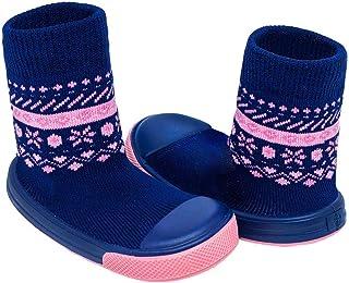 Meia Com Sola Comfort Azul Marinho e Rosa Pimpolho 17