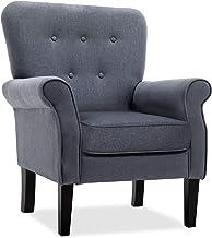 كرسي أكسنت، كراسي بذراع فردية حديثة، مقاعد أريكة منجد للمنزل قماش أثاث لغرفة المعيشة، غرفة النوم، المكتب (رمادي داكن)