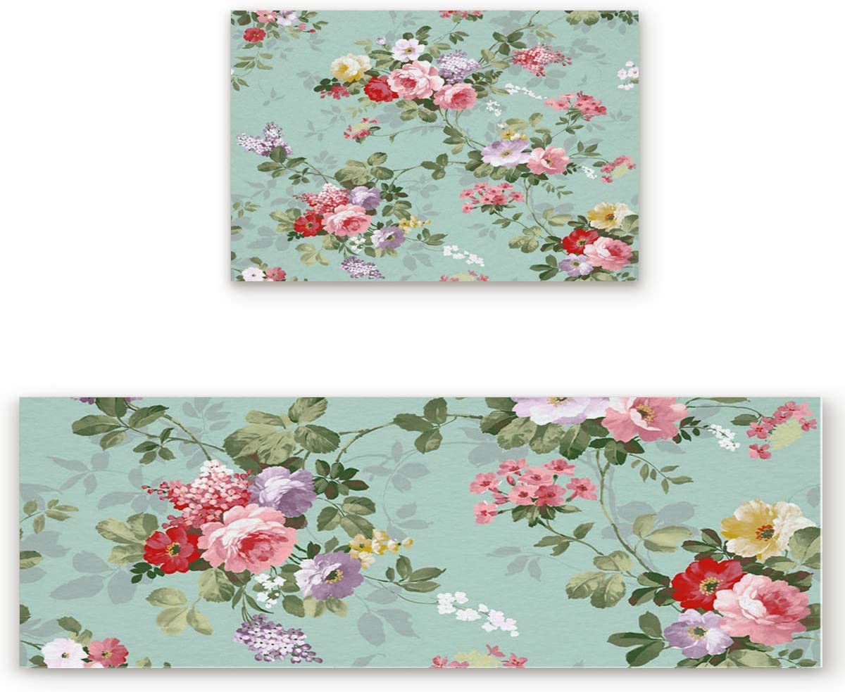 Floral Kitchen Rugs Set 2 Pcs Trust OFFicial store Rug Washable Non-Slip Stand Bath