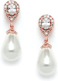 Rose Gold Pear-Shaped Cubic Zirconia Wedding Earrings for Brides with Bold Soft Cream Pearl Drops