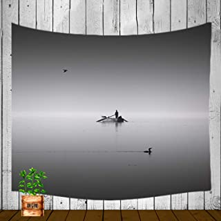 XMNTG Tapestry Black and White Photo Lake Swimming Duck Flying Bird Boat Fisherman Fog Best Gift Wall Hanging Dorm Decor Curtain Living Room Bedroom Decor (60x40 inch)