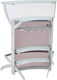 2-shelf Bar Unit with Glass Top Silver, Frosted and Smoke