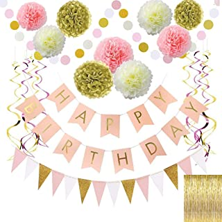 Birthday Decoration-Gold and Pink Birthday Decorations for Women,Happy Birthday Banner,Paper Garland,Gold foil Fringe curtain,foil swirls spiral garlands,Triangle banner and Dot banner.Any age, gende