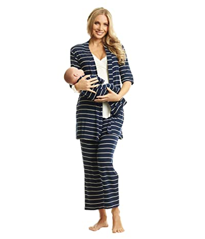 Everly Grey Analise Maternity/Nursing Mommy Me Five-Piece PJ Set (Navy Stripe) Women