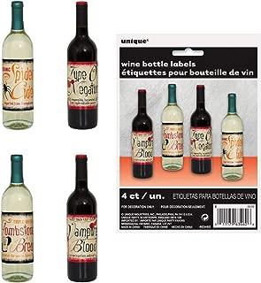 Unique 4 Count Vintage Wine Bottle Halloween Labels