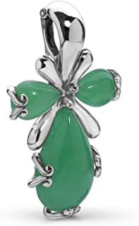 Sterling Silver Blue or Green Jade Gemstone 4 Petal Cross Pendant Enhancer