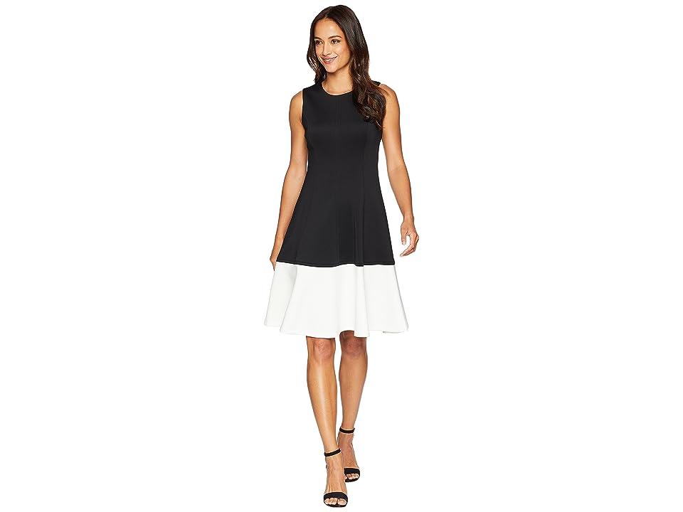 1960s Dresses | 60s Dresses Mod, Mini, Jakie O, Hippie Calvin Klein Color Block Fit Flare Dress CD8M14EL BlackCream Womens Dress $89.98 AT vintagedancer.com