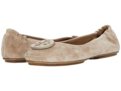 Tory Burch Minnie Travel Ballet with Leather Logo (Rocky Pebble/Rocky Pebble) Women