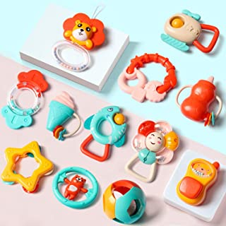EP EXERCISE Baby Rattles Set, Infants Teething Play Toys, Babies Chewing Silicone Teether, Shaker, Grab, Development Educational Musical Gift Set for 4, 5, 6, 9, 12, 18 Month Old, Newborn, Boy,(12PCS)