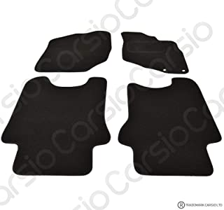 Carsio Tailored Black Carpet Car Mats for Honda Jazz 2002-2008 - 4 Piece Set with 2 Clips