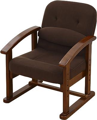 山善 組立て要らず 立ち上がり楽々高座椅子 防幕付 腰あて付 モカブラウン KMZC-55(MBR)BB