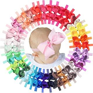 40 Colors Baby Grosgrain Ribbon Hair Bows Headbands 4.5Inch Hair Bows Headbands Big Bow Hair Bands Hair Accessories for Ba...