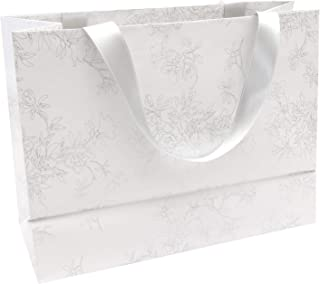 Clairefontaine 223760C - Un sac cadeau shopping Premium Blanc 32x13x24,5 cm 170g, Fleurs