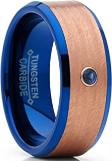 Metal Masters Co. Blue and Rose Tone Tungsten Wedding Band wih Real Sapphire Gemstone Ring with Banded Satin Hammered Finish