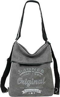 J JONES Große Damen Rucksack-Tasche aus Canvas und Echtleder Vintage Grau Natur Hobo-Bag für Alltag Büro Schule Ausflug Ei...