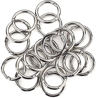 (Silver) - 20 Pcs Round Carabiner Gate O Spring Loaded Gate Clips Hook Key ring Buckle (Silver)