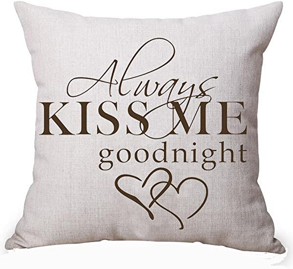 Queen S Designer Always Kiss Me Goodnight For Lover Inspirational Cotton Linen Decorative Home Office Throw Pillow Case Cushion Cover Square 18X18 Inches G
