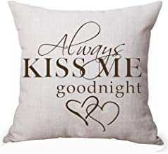 Queen's designer Always Kiss Me Goodnight For Lover Inspirational Cotton Linen Decorative Home Office Throw Pillow Case Cushion Cover Square 18X18 Inches (G)