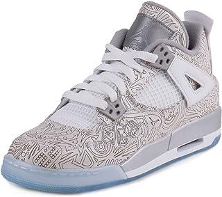 huge discount 8f567 f2a54 Nike Mens Air Jordan 4 Retro Laser BG White Chrome-Metallic Silver Leather  Basketball