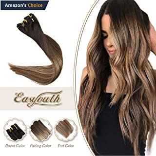 Easyouth 14inch Clip Extensions Remy Human Hair Extensions Color 1B Off Black Fading to 6 Highlights with 27 Balayage Ombre Clip Extensions Silky Straight Dip Dyed 90g 7Pcs Clip in Hair Extensions