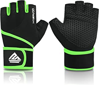 HTZPLOO Gym Gloves Weight Lifting Gloves Workout Gloves with Wrist Wraps,Full Palm Pad & Enhanced Grip for Bodybuilding Training Exercise Gloves Men & Women