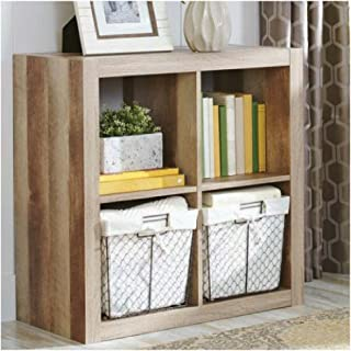 Better Homes and Gardens.. Bookshelf Square Storage Cabinet 4-Cube Organizer (Weathered)