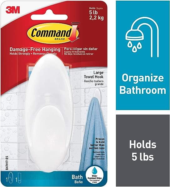Command BATH17 ES E 051141958392 Towel Clear Frosted 1 Hook 1 Large Water Resistant Strip BATH17 ES