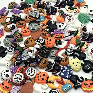 Incredible art Mixed lot Halloween Resin Flatback Cute Cabochons Decoden Pieces,20pc per Packet | Embellishment Wizard Pumpkin Lantern Ghost and More.