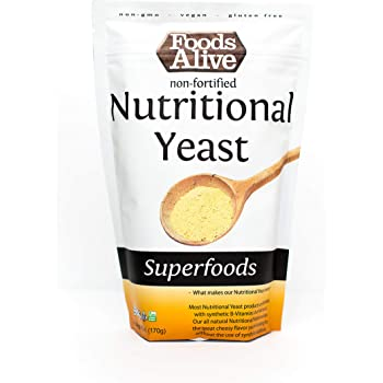 Foods Alive Nutritional Yeast Flakes | Non-Fortified, Plant Based Protein, Vegan Cheese Powder Substitute, Versatile Seasoning for a Wide Range of Dishes, 6oz (Single Pack)