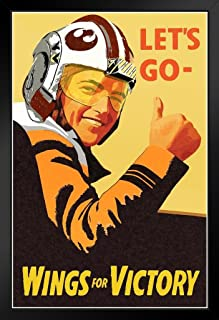 Lets Go Wings for Victory Xwing Pilot Propaganda Black Wood Framed Poster 14x20