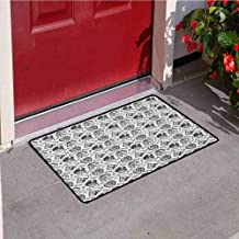 Manly Inlet Outdoor Door mat Greyscale Pattern with Rider Skulls Bone Bikers Repair Shops Services Art Catch dust Snow and mud W23.6 x L35.4 Inch Charcoal Grey White
