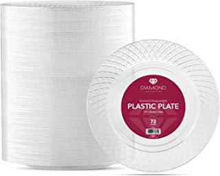 72 CRYSTAL CLEAR PLASTIC PLATES | 7.5 Inch Disposable Plates | Fancy Appetizer Plates | Elegant Dessert Plates | Hard Round Party Plates | Heavy Duty Wedding Plates | Premium Catering Plates [Diamond]