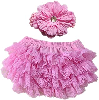 Toddler Diaper Covers Baby Girl's Cotton Short Panties Lace Ruffle Baby Bloomers Headband Set