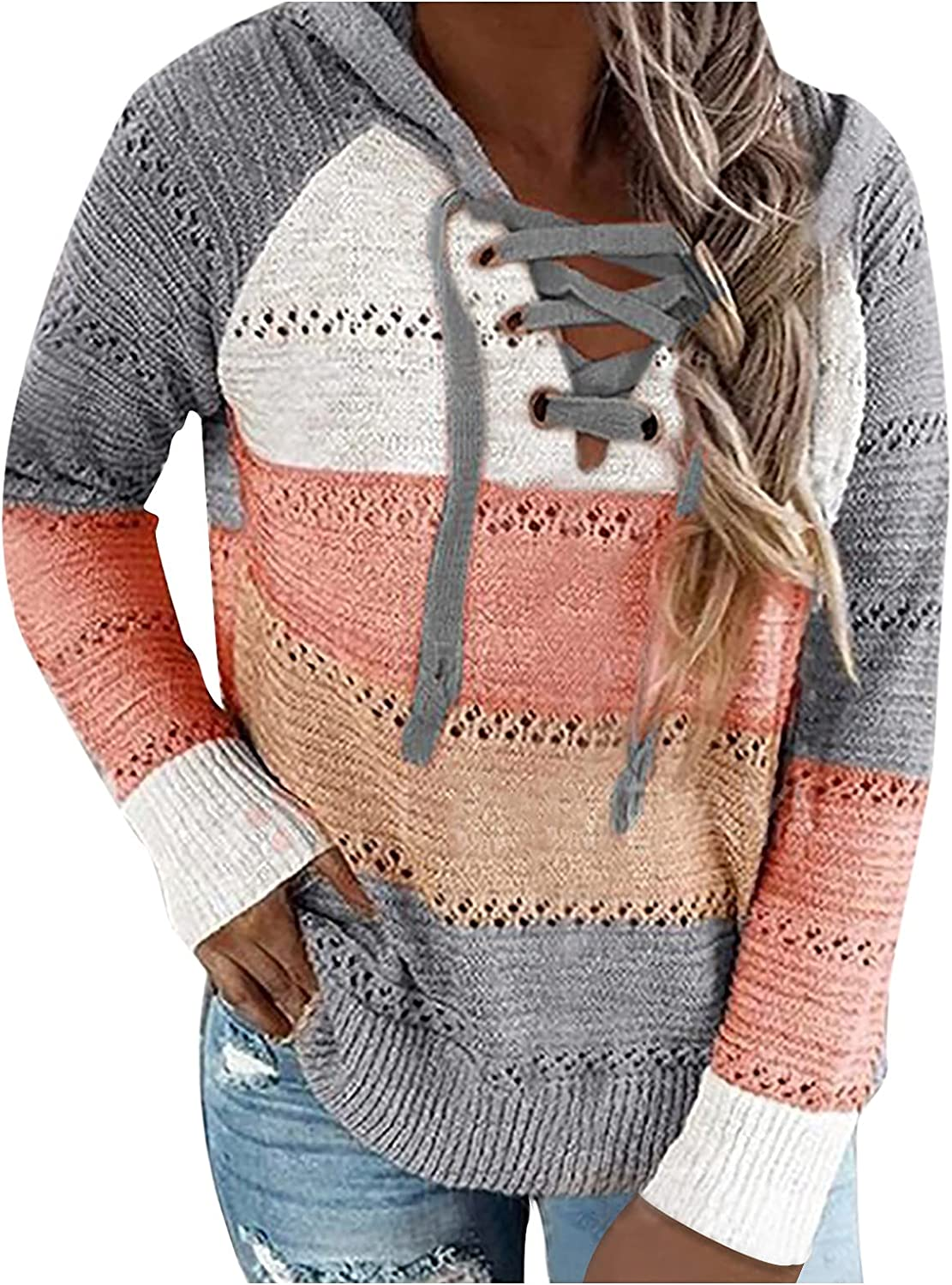 Kanzd Sweaters for OFFicial shop Credence Women Fashion Trendy Sleeve Neck V Front Long