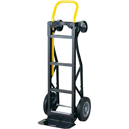 """Harper Trucks PGDY8635P 700 lb Capacity Glass Filled Nylon Convertible Hand Truck and Dolly with 10"""" Flat-Free Solid Rubber Wheels,Black with Yellow Handle"""